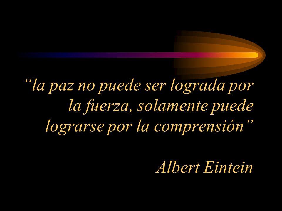 la paz no puede ser lograda por la fuerza, solamente puede lograrse por la comprensión Albert Eintein