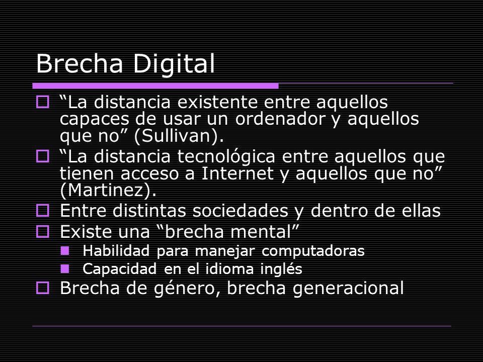 Brecha Digital La distancia existente entre aquellos capaces de usar un ordenador y aquellos que no (Sullivan).