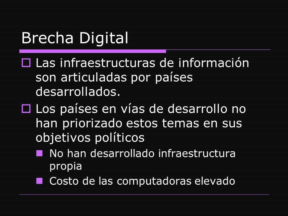 Brecha Digital Las infraestructuras de información son articuladas por países desarrollados.