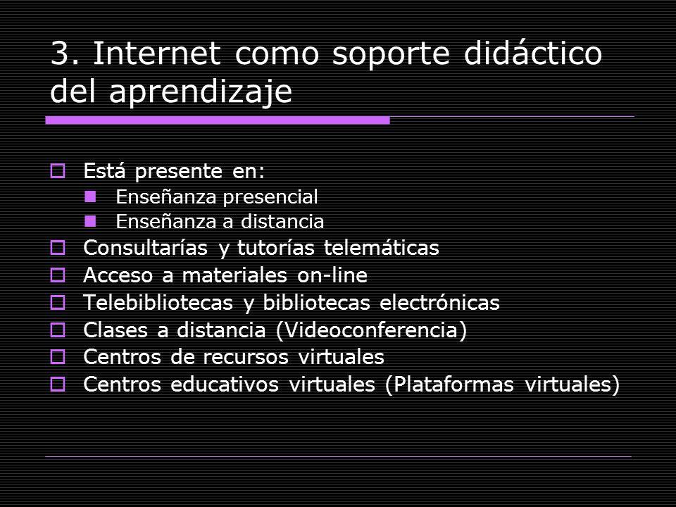 3. Internet como soporte didáctico del aprendizaje