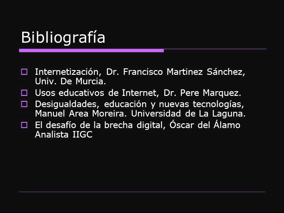 Bibliografía Internetización, Dr. Francisco Martinez Sánchez, Univ. De Murcia. Usos educativos de Internet, Dr. Pere Marquez.