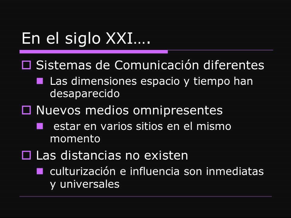 En el siglo XXI…. Sistemas de Comunicación diferentes