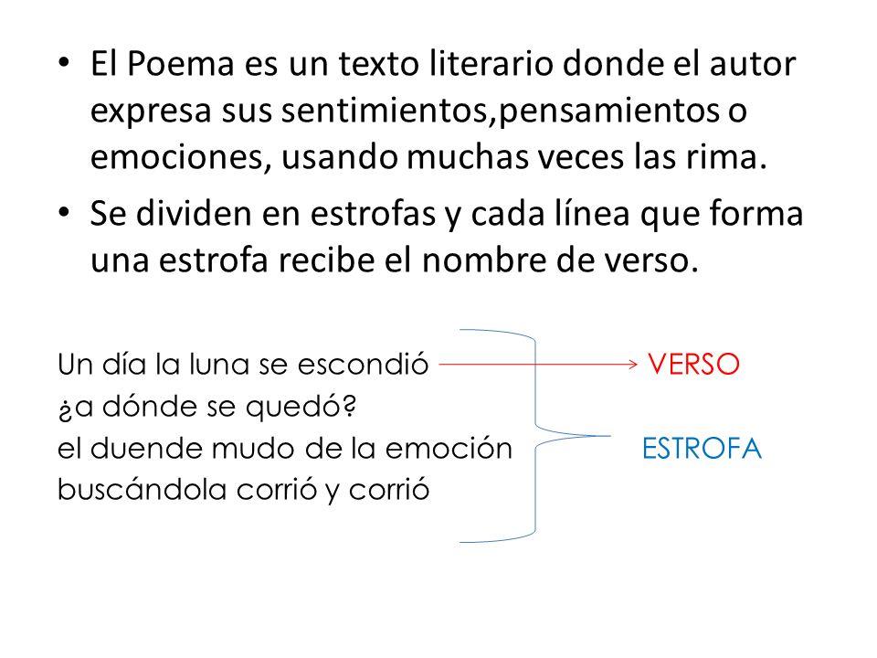 El Poema es un texto literario donde el autor expresa sus sentimientos,pensamientos o emociones, usando muchas veces las rima.