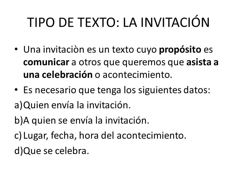 TIPO DE TEXTO: LA INVITACIÓN