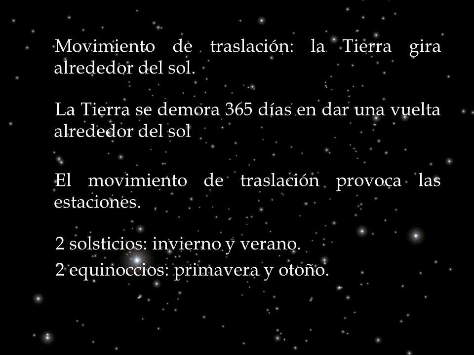 Movimiento de traslación: la Tierra gira alrededor del sol.