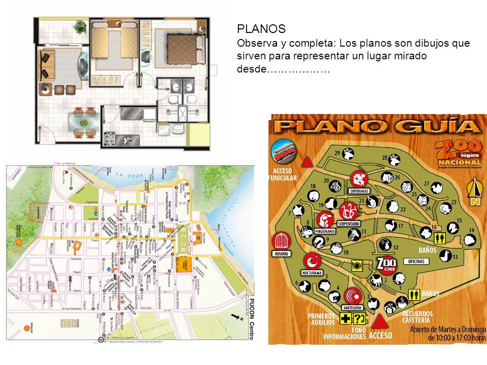 PLANOS Observa y completa: Los planos son dibujos que sirven para representar un lugar mirado desde………………