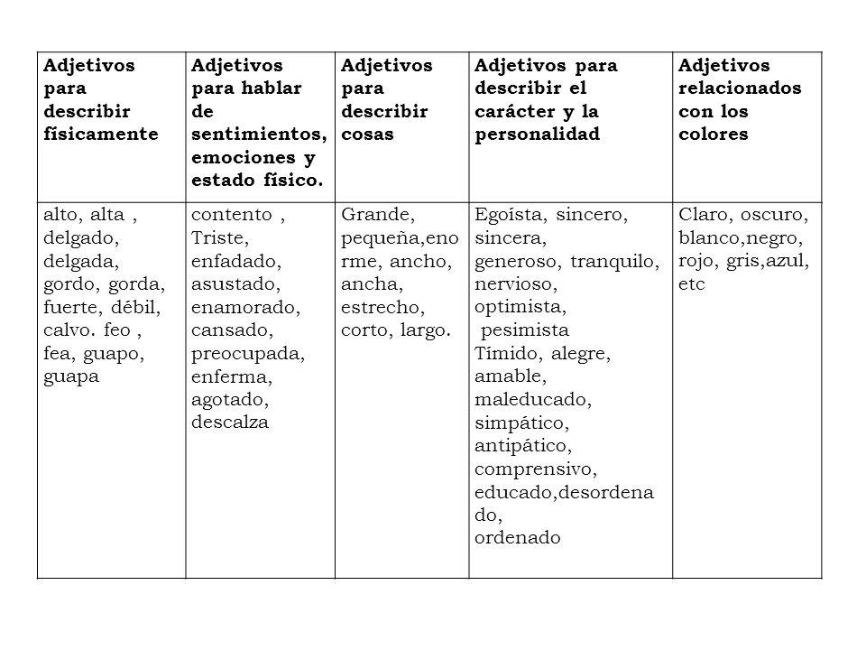 Adjetivos para describir físicamente
