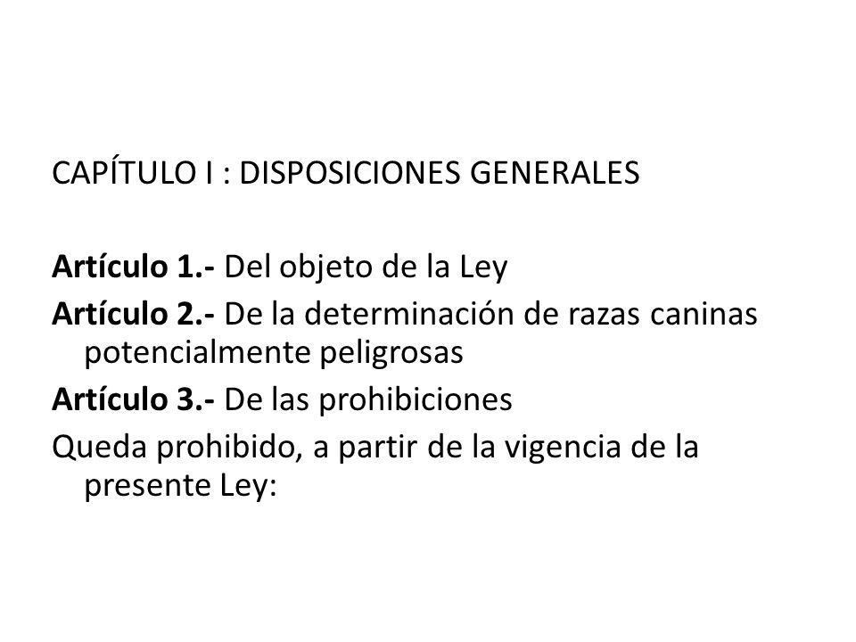 CAPÍTULO I : DISPOSICIONES GENERALES Artículo 1