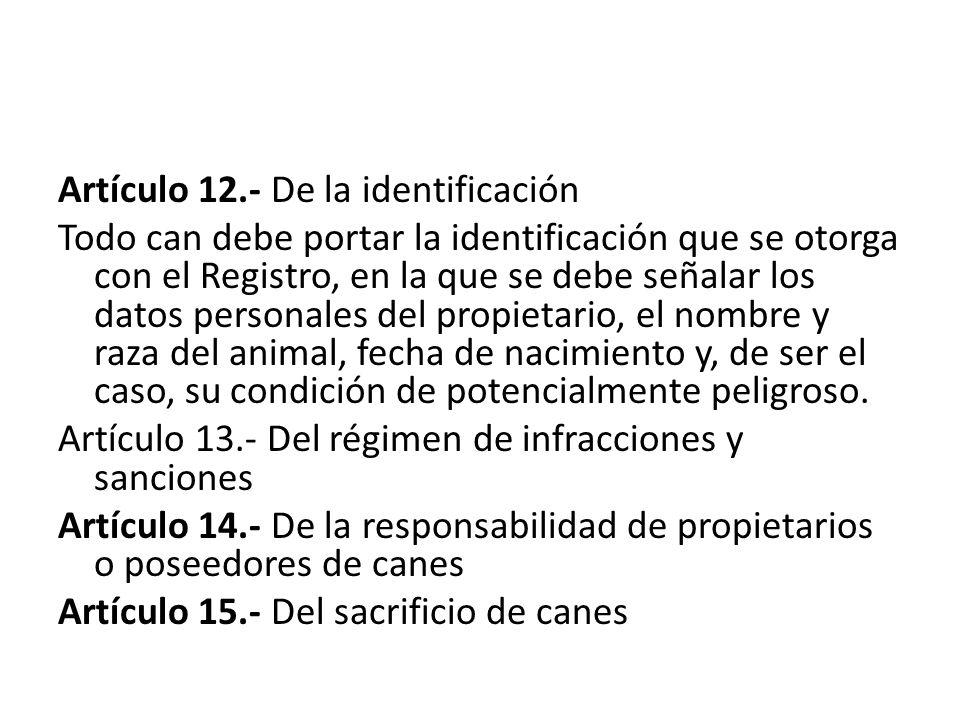 Artículo 12.- De la identificación