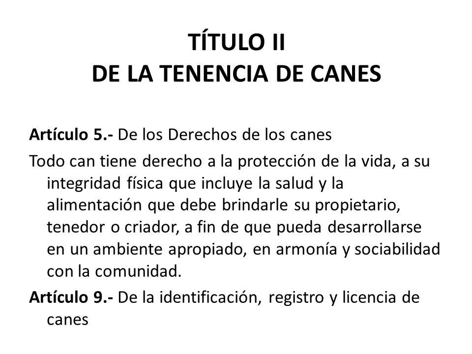 TÍTULO II DE LA TENENCIA DE CANES