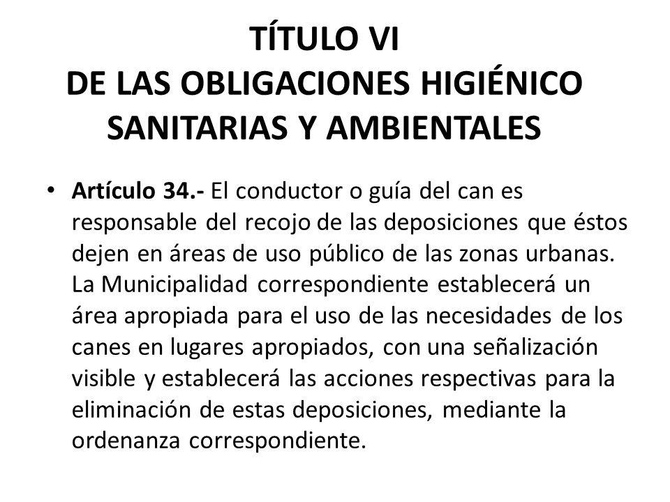 TÍTULO VI DE LAS OBLIGACIONES HIGIÉNICO SANITARIAS Y AMBIENTALES