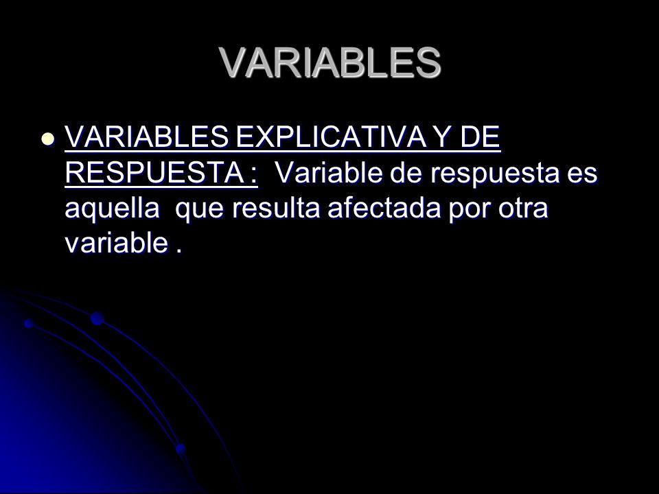 VARIABLES VARIABLES EXPLICATIVA Y DE RESPUESTA : Variable de respuesta es aquella que resulta afectada por otra variable .