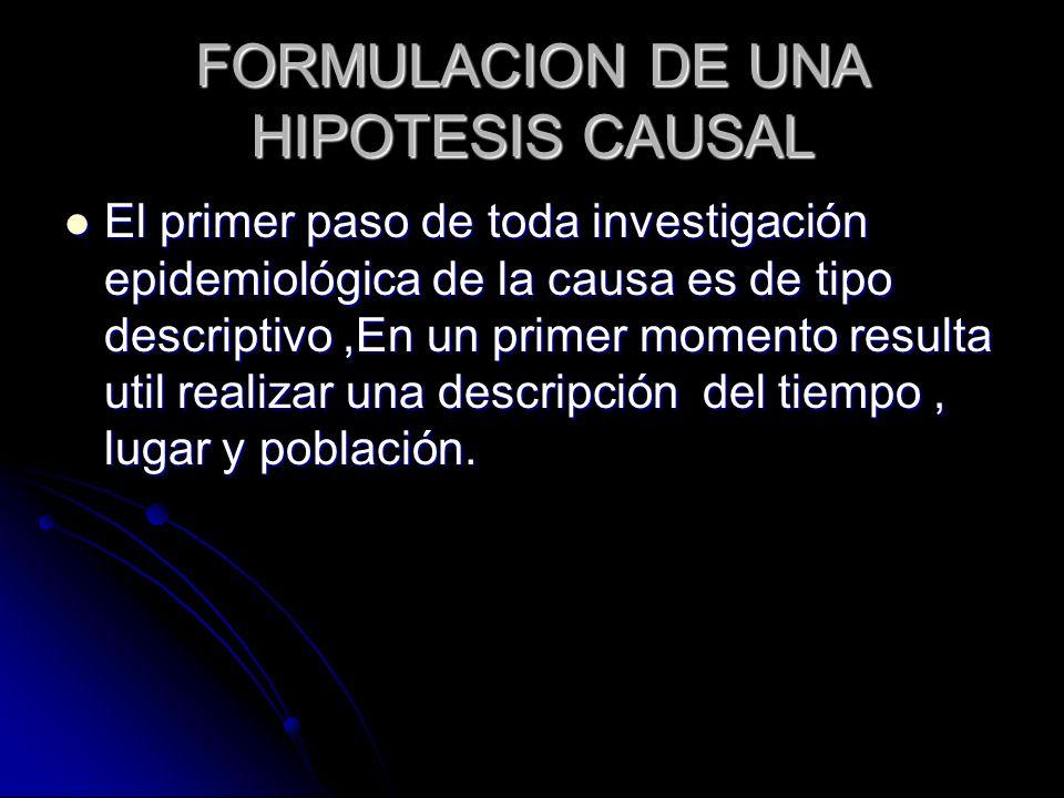 FORMULACION DE UNA HIPOTESIS CAUSAL