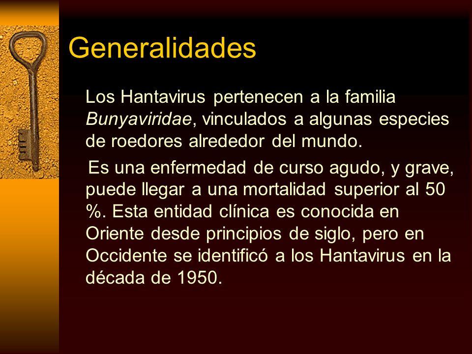 GeneralidadesLos Hantavirus pertenecen a la familia Bunyaviridae, vinculados a algunas especies de roedores alrededor del mundo.