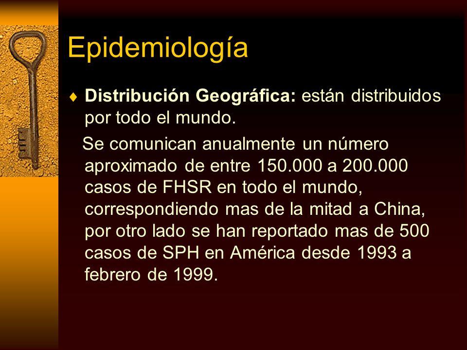 Epidemiología Distribución Geográfica: están distribuidos por todo el mundo.