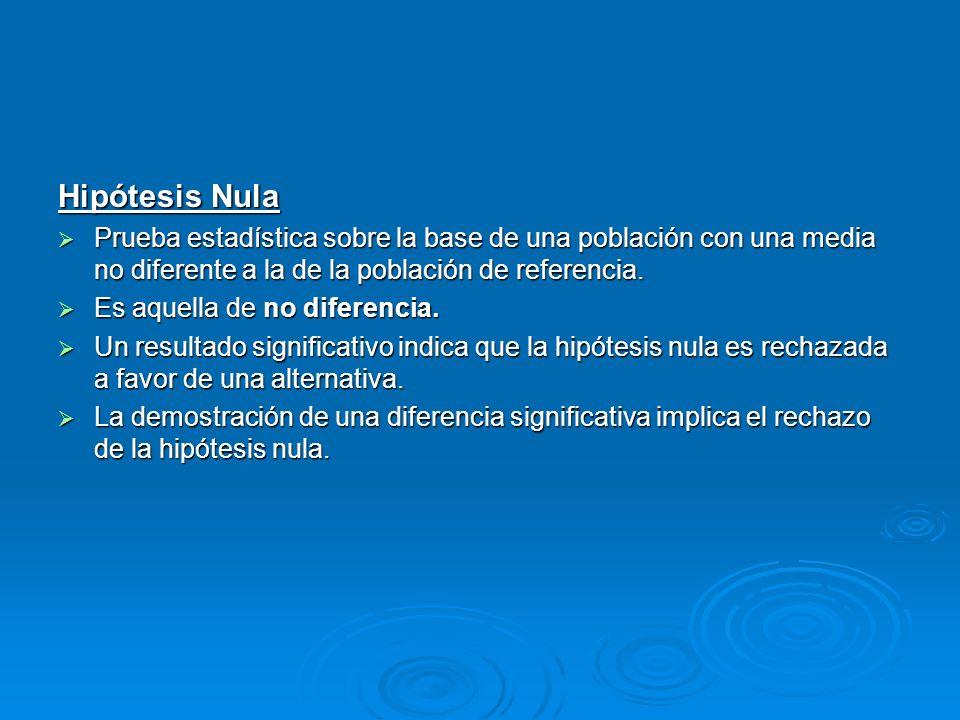 Hipótesis NulaPrueba estadística sobre la base de una población con una media no diferente a la de la población de referencia.
