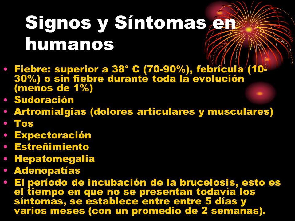 Signos y Síntomas en humanos