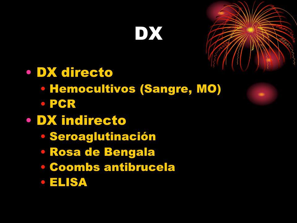 DX DX directo DX indirecto Hemocultivos (Sangre, MO) PCR