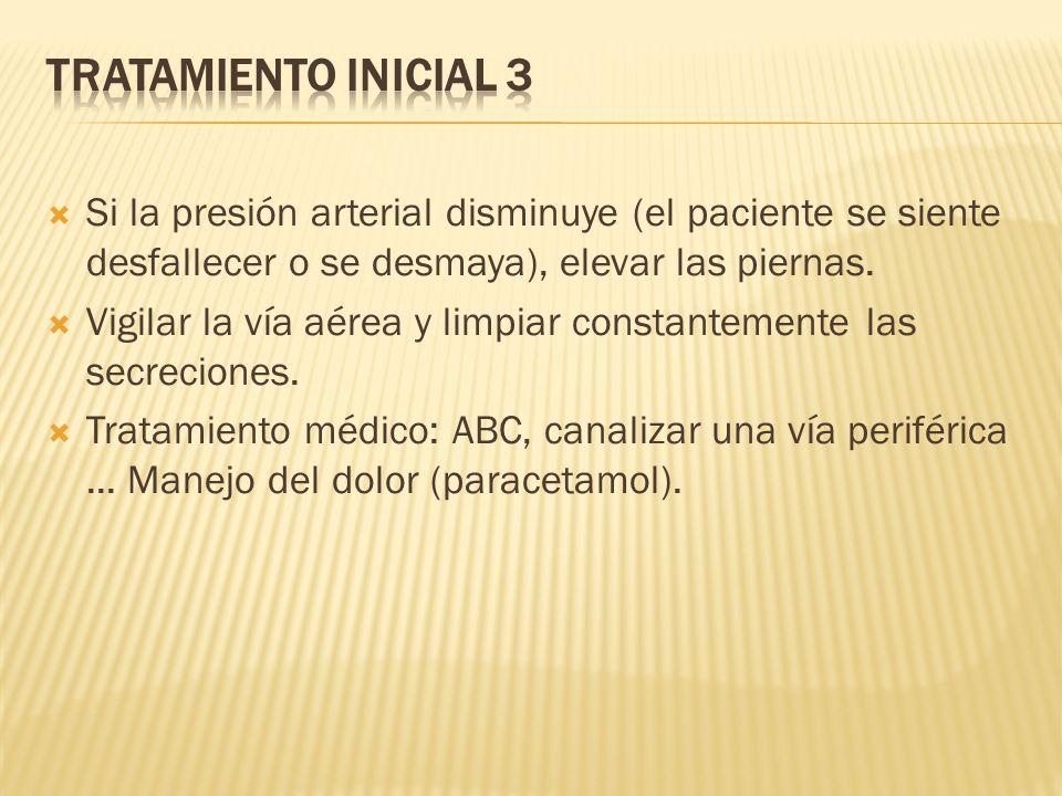 Tratamiento Inicial 3 Si la presión arterial disminuye (el paciente se siente desfallecer o se desmaya), elevar las piernas.