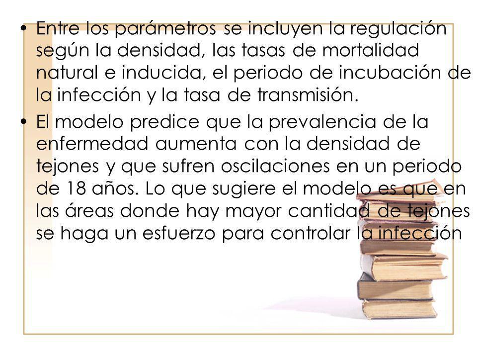 Entre los parámetros se incluyen la regulación según la densidad, las tasas de mortalidad natural e inducida, el periodo de incubación de la infección y la tasa de transmisión.