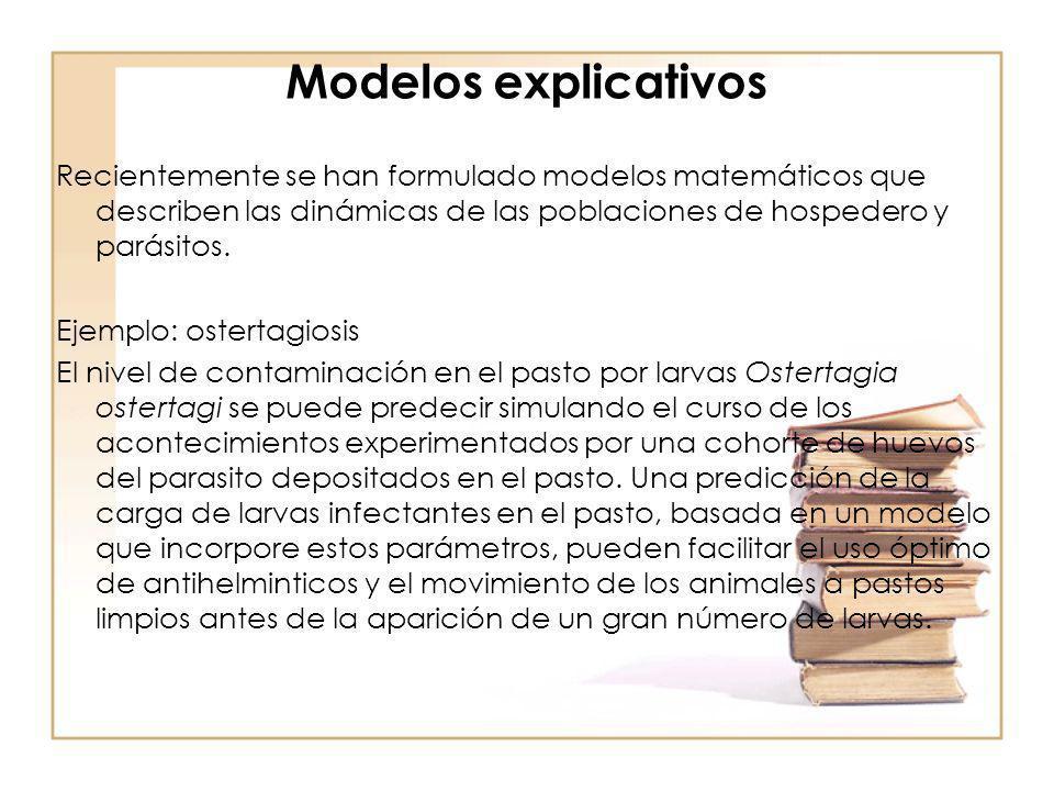 Modelos explicativos Recientemente se han formulado modelos matemáticos que describen las dinámicas de las poblaciones de hospedero y parásitos.