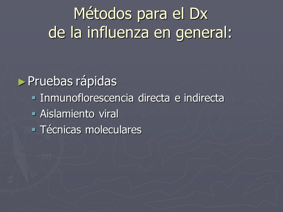 Métodos para el Dx de la influenza en general: