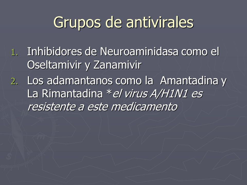 Grupos de antivirales Inhibidores de Neuroaminidasa como el Oseltamivir y Zanamivir.