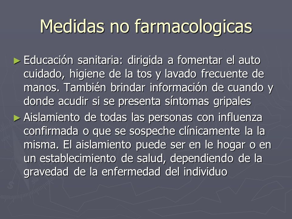 Medidas no farmacologicas