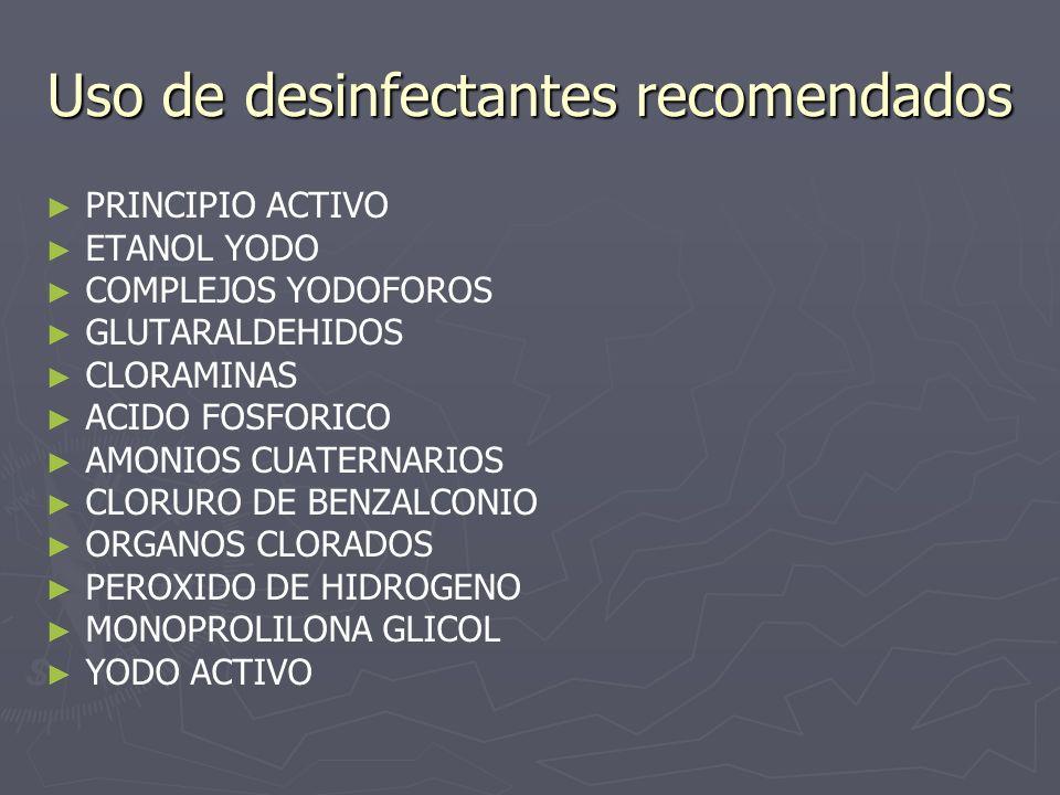Uso de desinfectantes recomendados