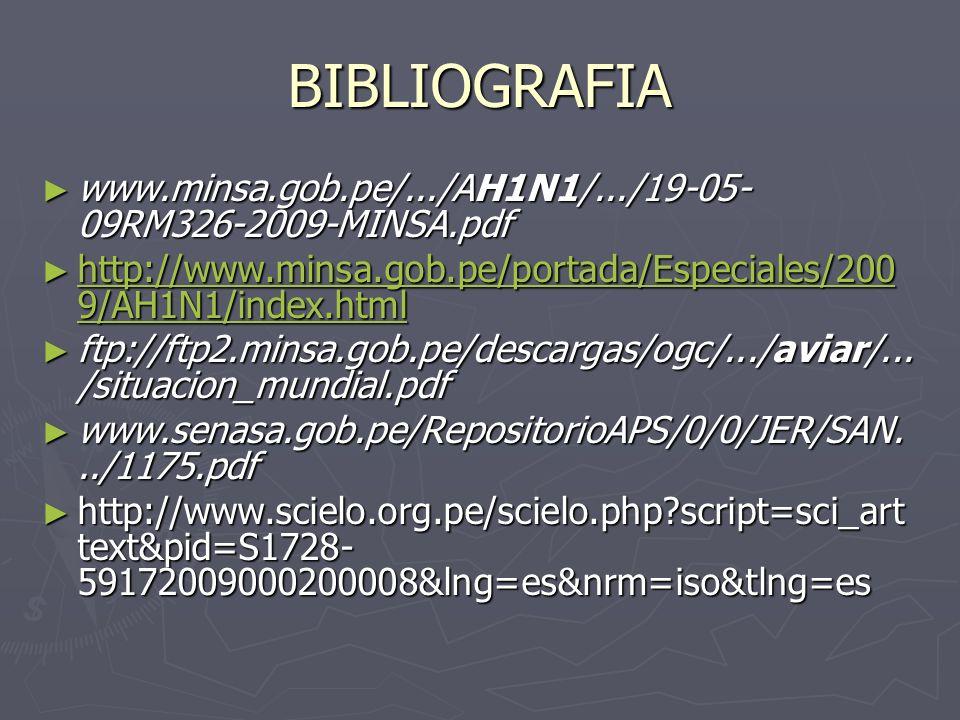 BIBLIOGRAFIAwww.minsa.gob.pe/.../AH1N1/.../19-05-09RM326-2009-MINSA.pdf. http://www.minsa.gob.pe/portada/Especiales/2009/AH1N1/index.html.