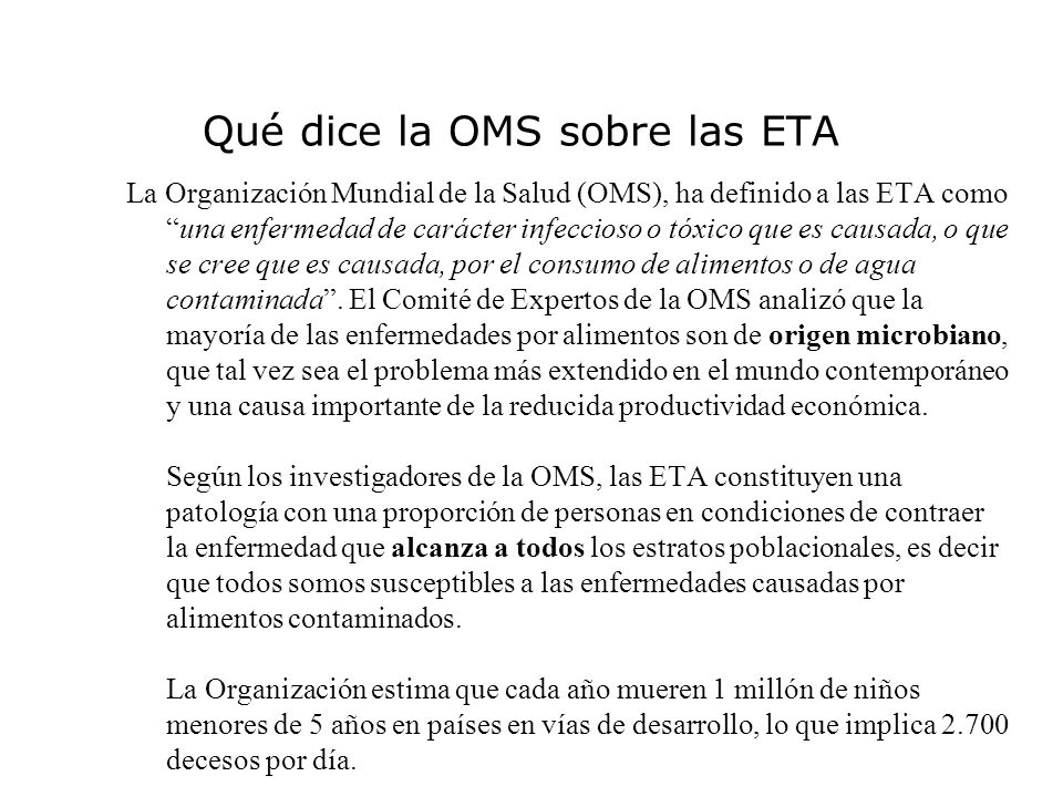 Qué dice la OMS sobre las ETA