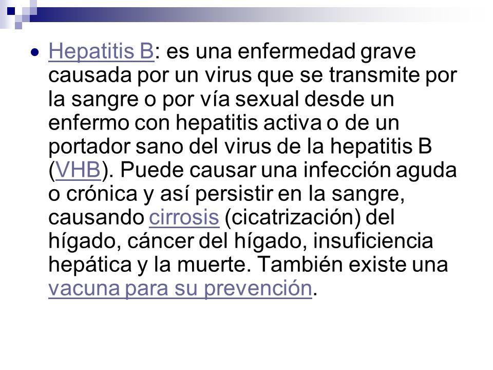 Hepatitis B: es una enfermedad grave causada por un virus que se transmite por la sangre o por vía sexual desde un enfermo con hepatitis activa o de un portador sano del virus de la hepatitis B (VHB).