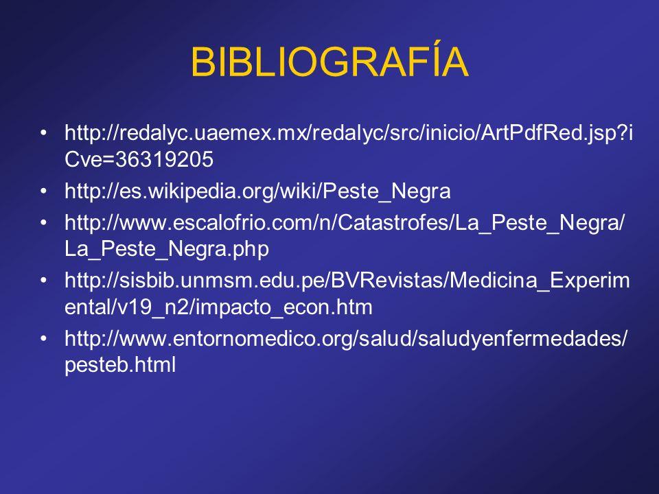 BIBLIOGRAFÍA http://redalyc.uaemex.mx/redalyc/src/inicio/ArtPdfRed.jsp iCve=36319205. http://es.wikipedia.org/wiki/Peste_Negra.