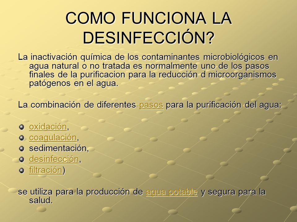 COMO FUNCIONA LA DESINFECCIÓN