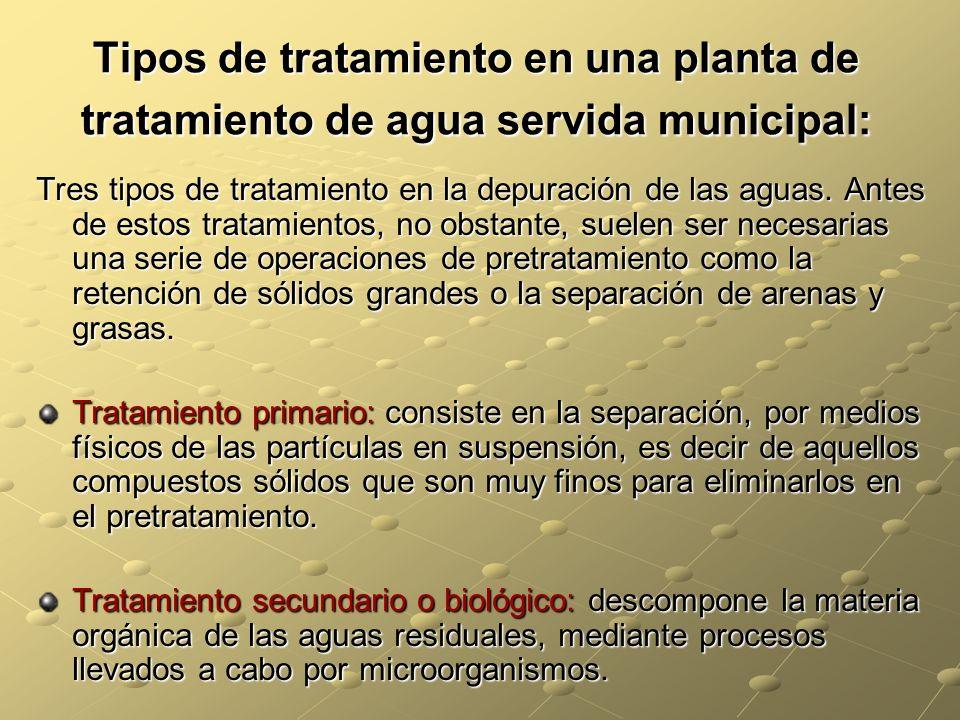 Tipos de tratamiento en una planta de tratamiento de agua servida municipal:
