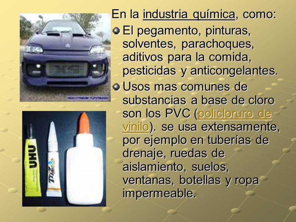 En la industria química, como: