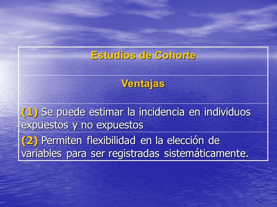 Estudios de Cohorte Ventajas. (1) Se puede estimar la incidencia en individuos expuestos y no expuestos.