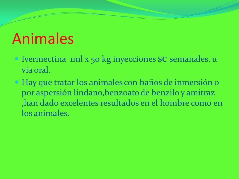 Animales Ivermectina 1ml x 50 kg inyecciones sc semanales. u vía oral.