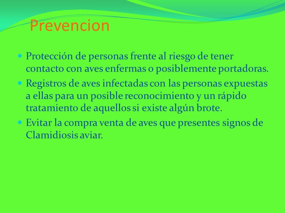 Prevencion Protección de personas frente al riesgo de tener contacto con aves enfermas o posiblemente portadoras.