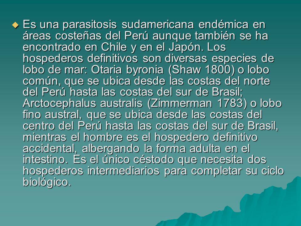 Es una parasitosis sudamericana endémica en áreas costeñas del Perú aunque también se ha encontrado en Chile y en el Japón.