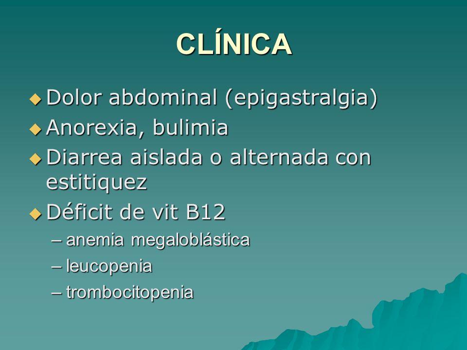 CLÍNICA Dolor abdominal (epigastralgia) Anorexia, bulimia