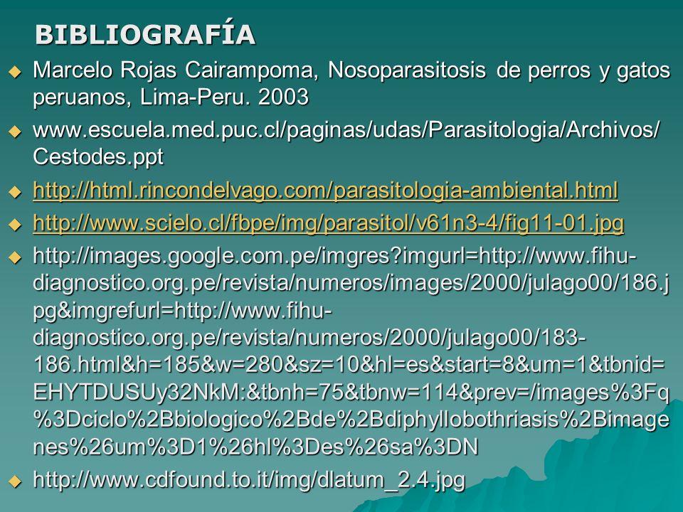 BIBLIOGRAFÍA Marcelo Rojas Cairampoma, Nosoparasitosis de perros y gatos peruanos, Lima-Peru. 2003.