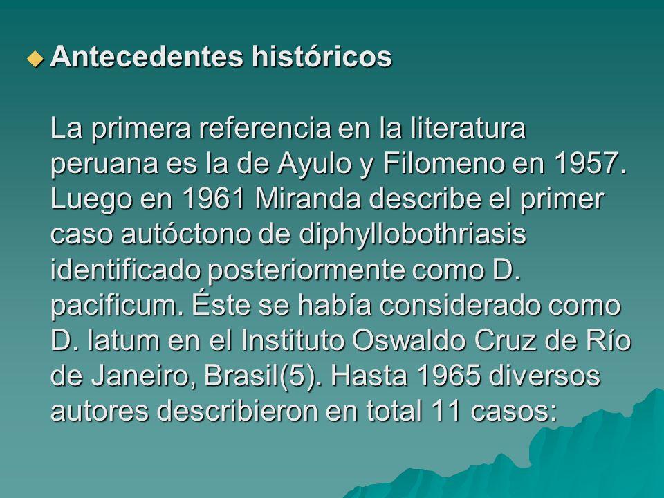 Antecedentes históricos La primera referencia en la literatura peruana es la de Ayulo y Filomeno en 1957.