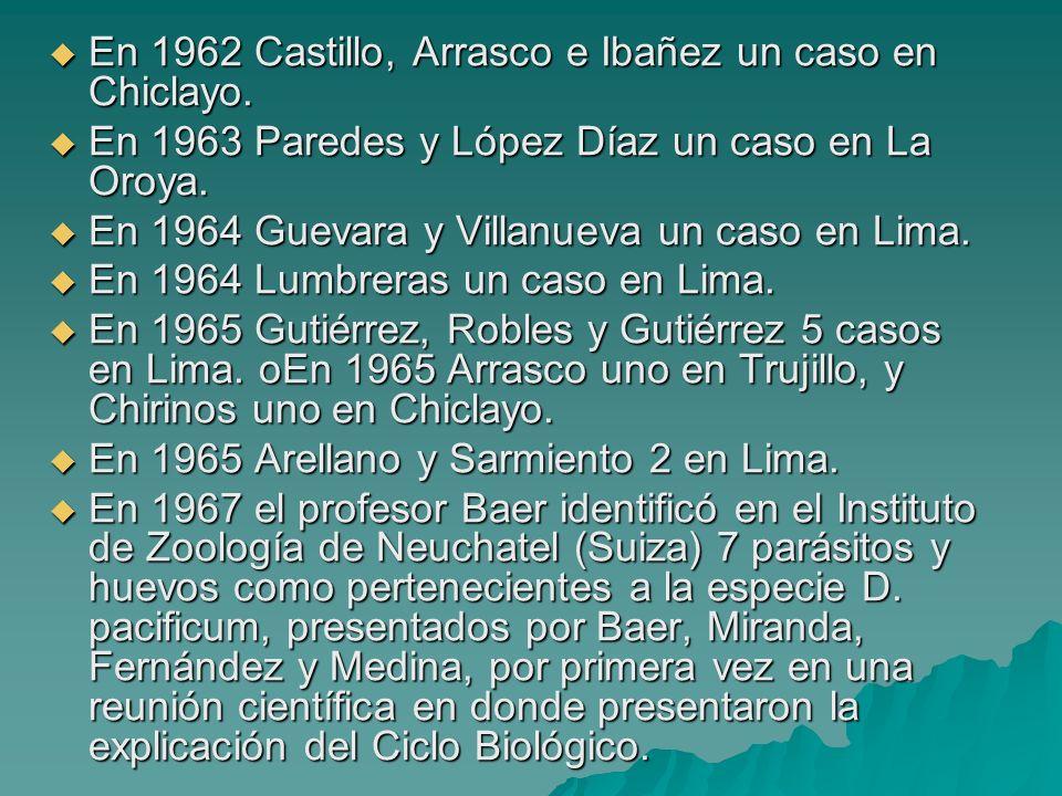 En 1962 Castillo, Arrasco e Ibañez un caso en Chiclayo.