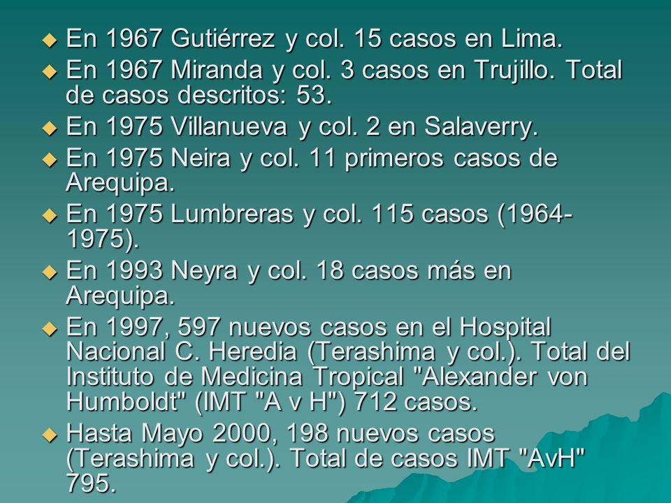 En 1967 Gutiérrez y col. 15 casos en Lima.