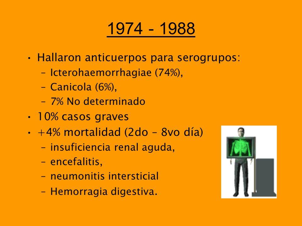 1974 - 1988 Hallaron anticuerpos para serogrupos: 10% casos graves