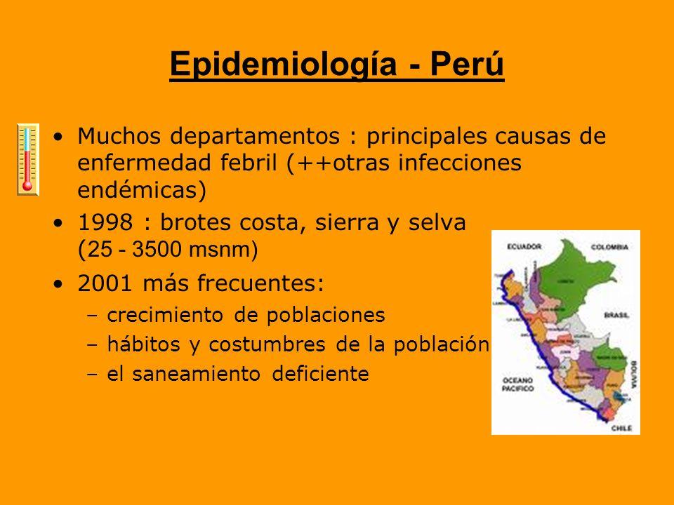 Epidemiología - Perú Muchos departamentos : principales causas de enfermedad febril (++otras infecciones endémicas)