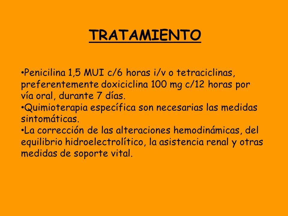 TRATAMIENTO Penicilina 1,5 MUI c/6 horas i/v o tetraciclinas, preferentemente doxiciclina 100 mg c/12 horas por vía oral, durante 7 días.