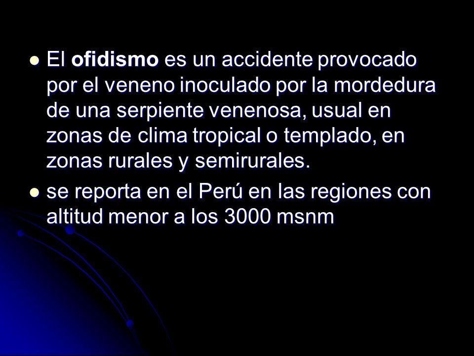 El ofidismo es un accidente provocado por el veneno inoculado por la mordedura de una serpiente venenosa, usual en zonas de clima tropical o templado, en zonas rurales y semirurales.