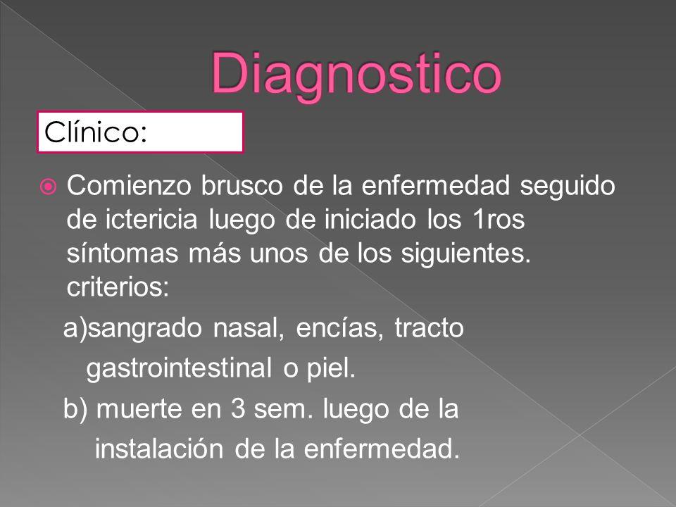 DiagnosticoClínico: Comienzo brusco de la enfermedad seguido de ictericia luego de iniciado los 1ros síntomas más unos de los siguientes. criterios: